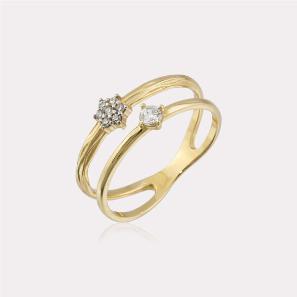 Double Circled Cubic Zirconia Ring