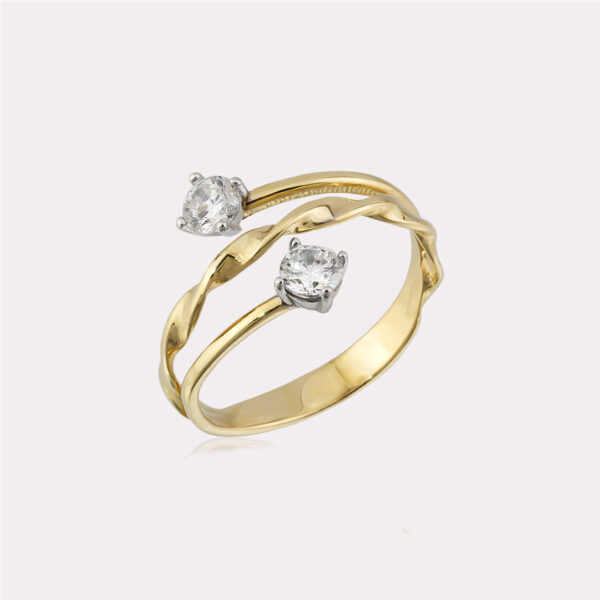 Twisted Two Stones Ring