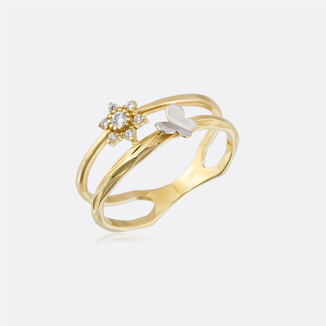 Flower and Butterfly Figured Ring