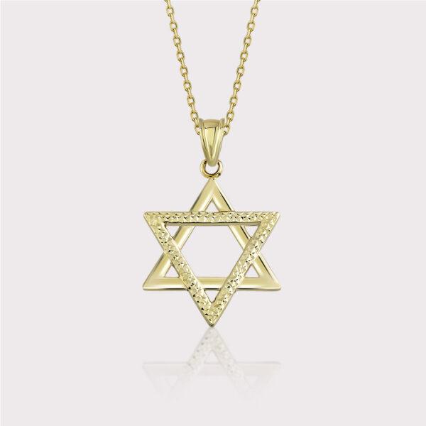 Diamond Cut Star of David Necklace