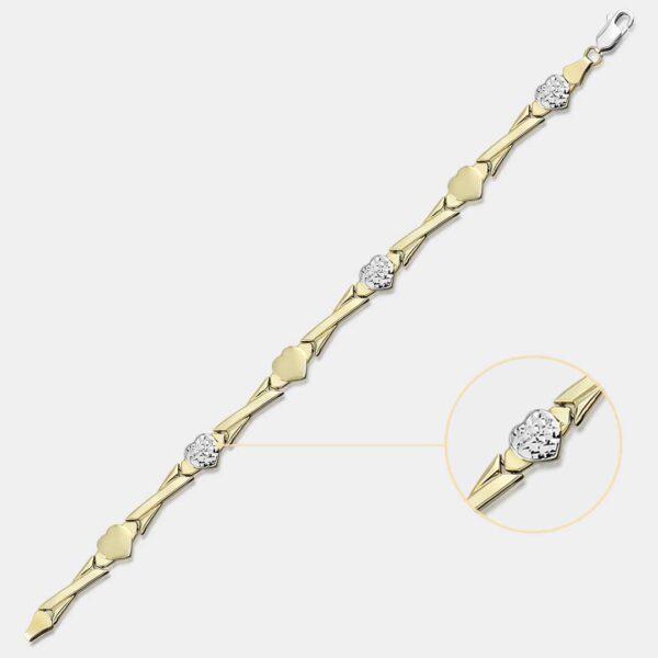 Gold Heart Stampato Bracelet