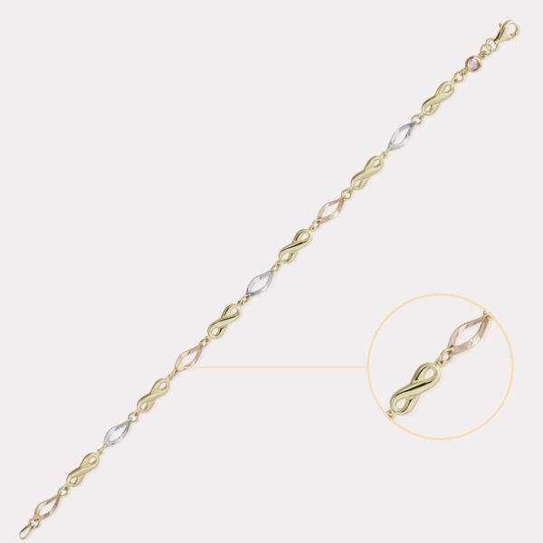 Three Tone Infinity Bracelet