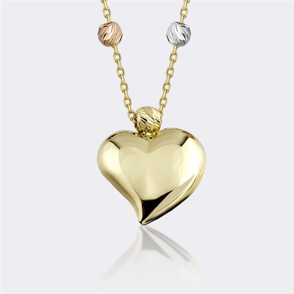Tri-Tone Ball and Heart Necklace