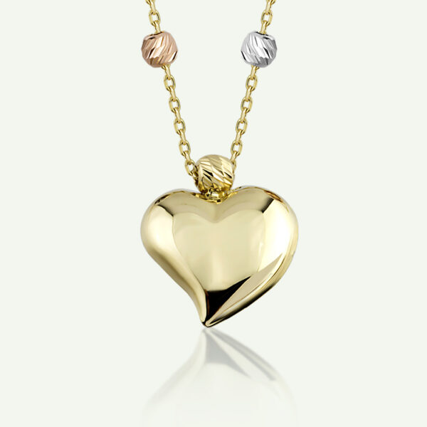 Tri Tone Ball Heart Necklace
