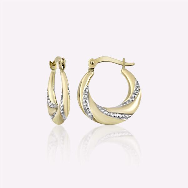 Two Tone Diamond-Cut Hoop Earrings